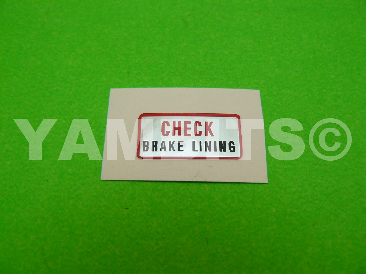 DT100 Brake Plate Warning Decal