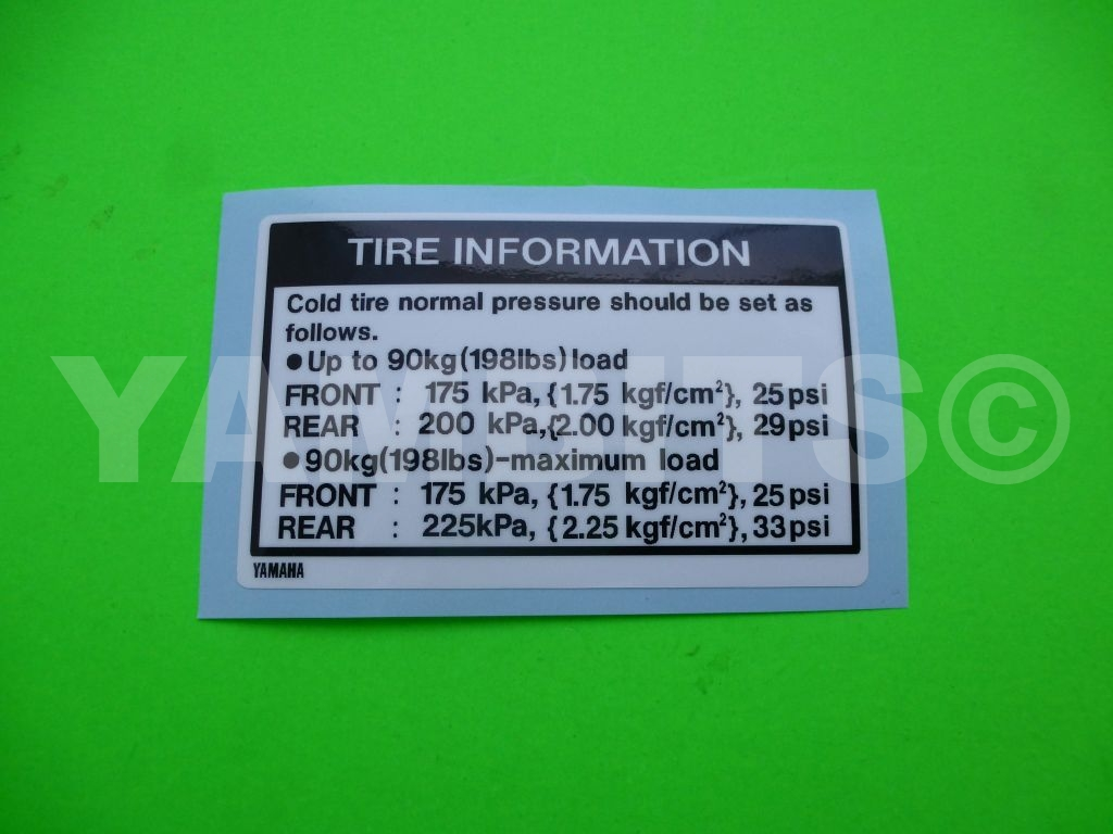 RD350LC Tyre Information Decal