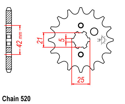 RD350 YPVS LC2 Sprocket Front Std -1T (16T)