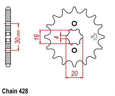 YBR125SPD Custom Sprocket Front (14T) Std