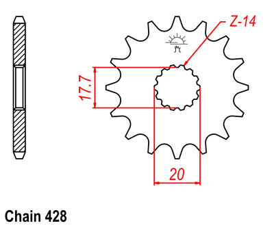 DT230 Lanza Sprocket Front (16T) Std
