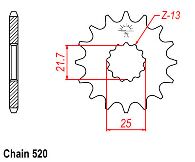 YZ450F Sprocket Front (14T) Std 2003-2012