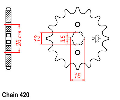 TY80 Sprocket Front (12T) Std