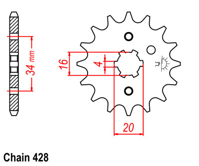 YZ125 Sprocket Front (12T) 1974-1976