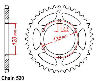 RD350R YPVS Sprocket Rear (40T)