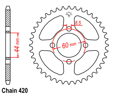 GT80 Sprocket Rear (41T) Std