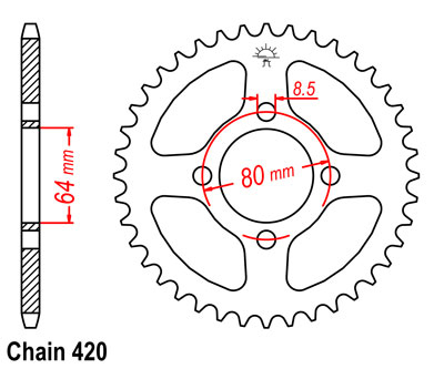 YG1FD Sprocket Rear (39T)