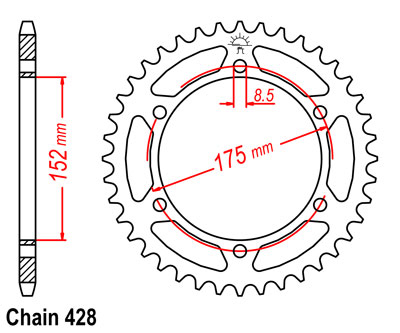 DT125R Sprocket Rear (57T) Std 1989-2004