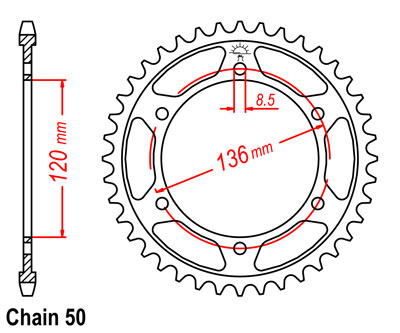 RZV500R Sprocket Rear (38T) Std