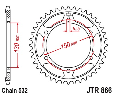 YZF750R Sprocket Rear (43T) Std