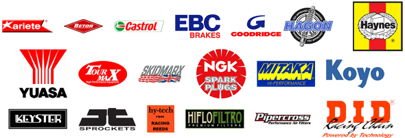 Yambits sells Ariete, Betor, Castrol, EBC, Goodridge, Haynes, Hagon, YUASA, Tourmax, Skidmarx, NGK, Mitaka, Koyo, Keyster, JT Sprockets, Hy-Tech Reeds, Hiflo Filtro, Samco Hoses, Pipercross Filters, D.I.D Racing Chains and many more!
