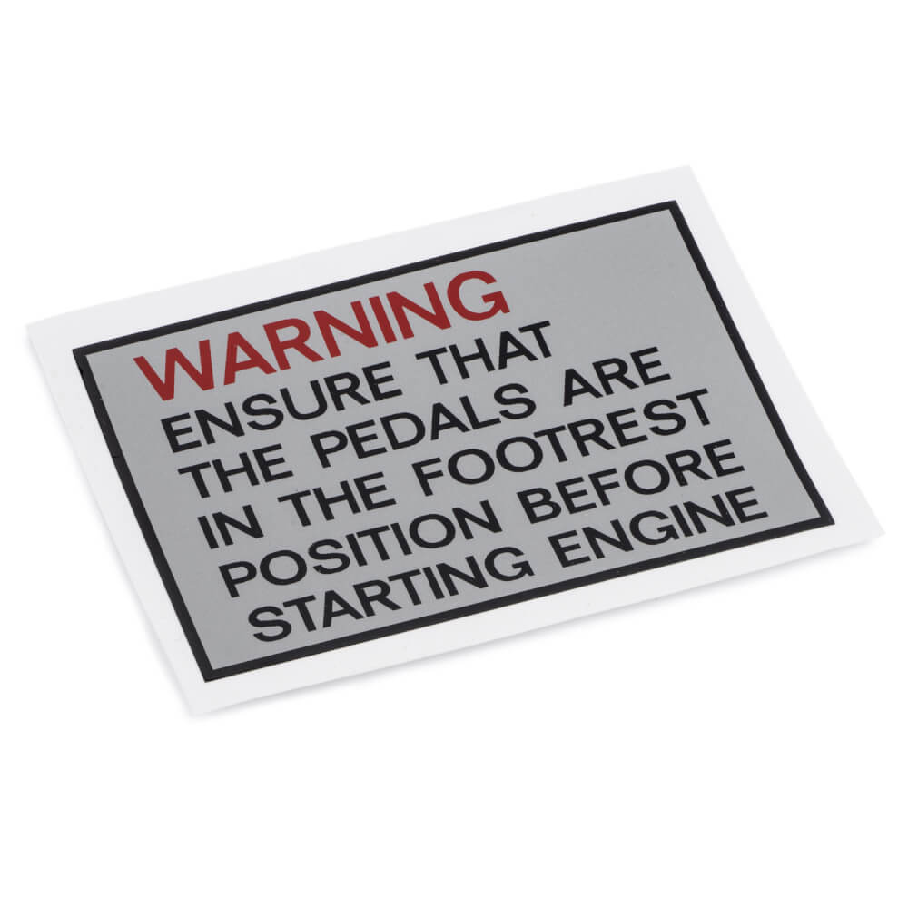TY50M Pedal Chain Cover Warning Decal (UK)