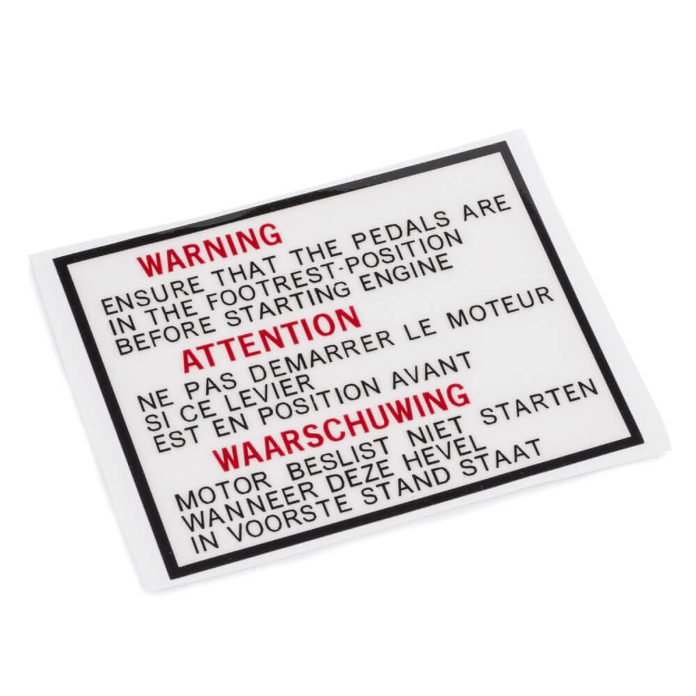 TY50M Pedal Chain Cover Warning Decal (Euro)