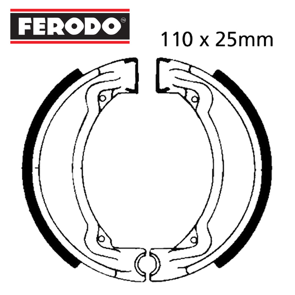 YB100 Brake Shoes Front Ferodo 1978-1986