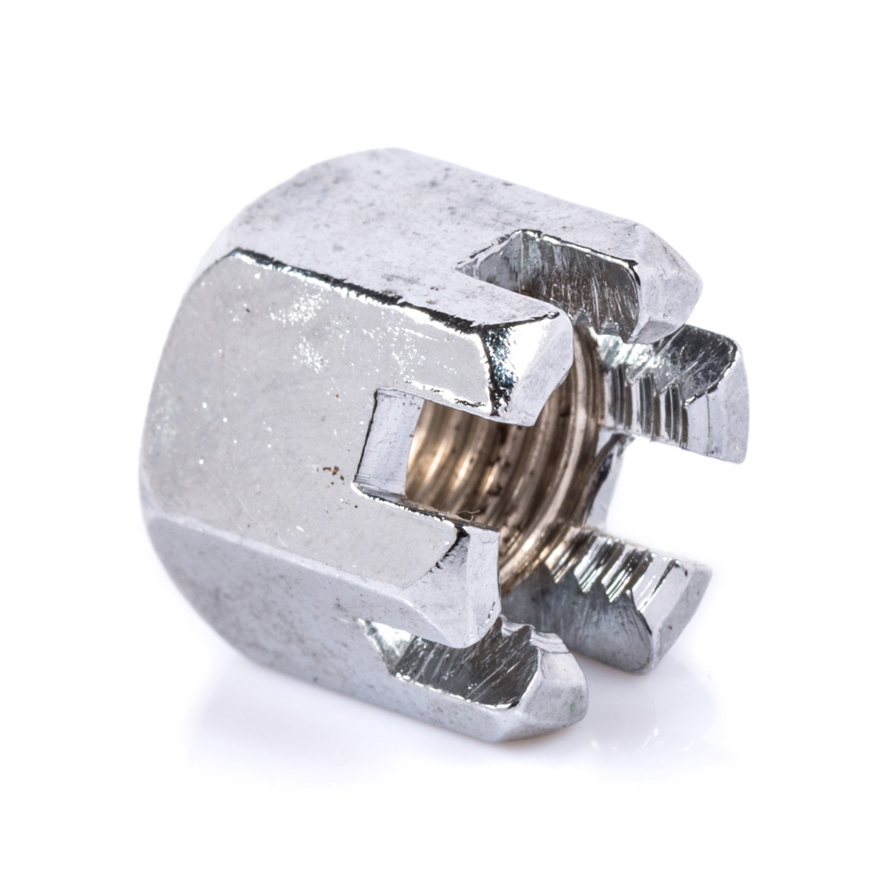 M12 BZP Slotted Nut (small hex)